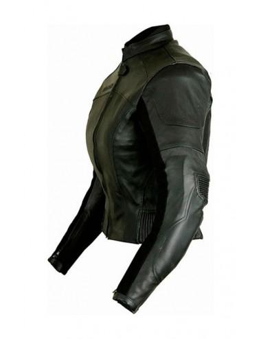 Blouson moto femme cuir noir coques protection