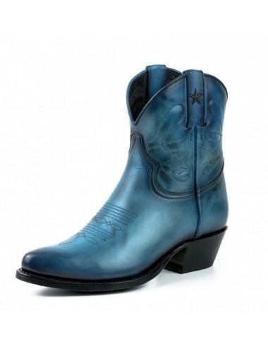 Boots cowboy femme bleu marine en cuir