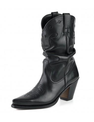Santiags femme cuir noir talon - Bottes santiags country artisanales