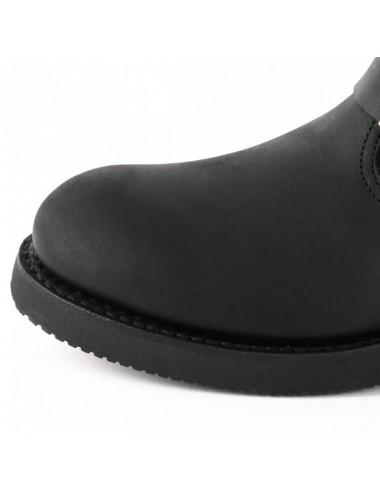 Chaussures moto cuir noir bout coqué
