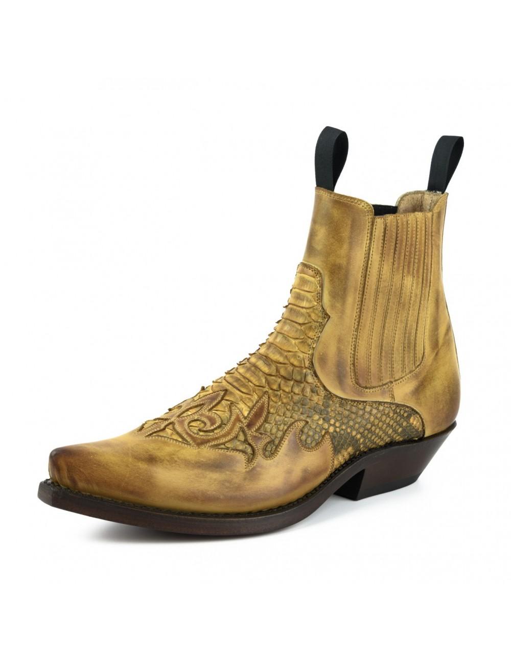 Boots santiags homme cuir et serpent bordeaux