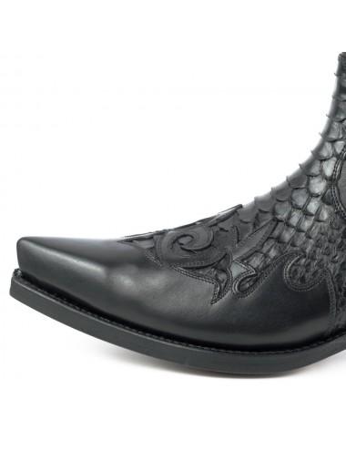 Santiag courte cuir et serpent noir