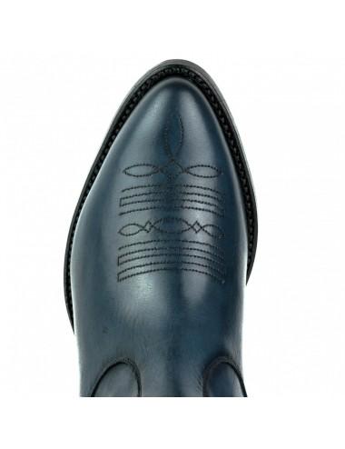 Bottines femme bleu marine cuir - Bottines cowboy artisanales