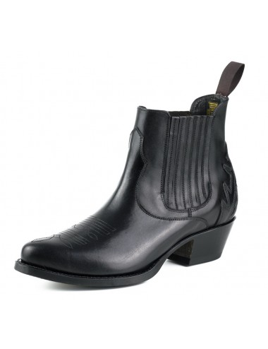 Bottines cowboy cuir noir