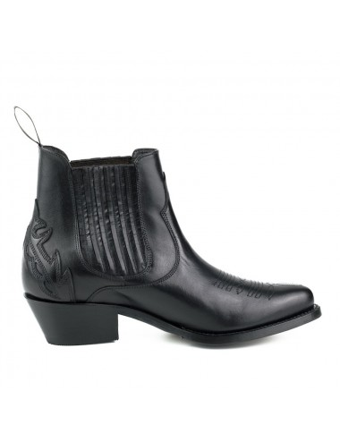 Bottines cowboy cuir noir - bottines femmes artisanales