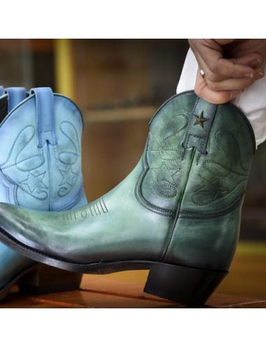 Bottines cowboy vertes en cuir - Bottines cowboy artisanales