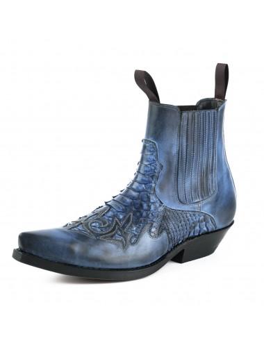 Santiags courtes bleu jean cuir et serpent - Bottines cowboy artisanales