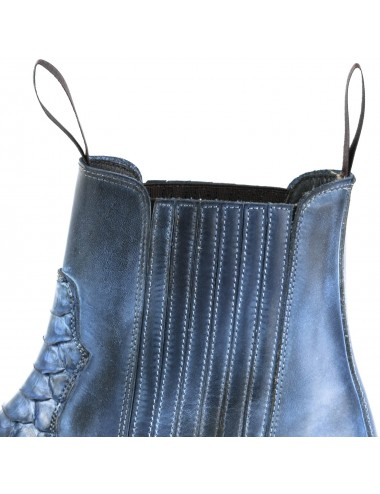 Santiags courtes bleu jean cuir et serpent