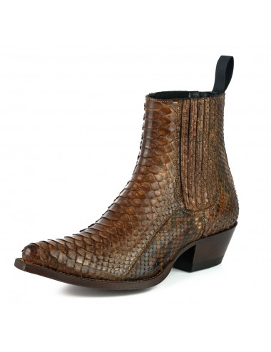 Boots santiags serpent marron - bottines femmes artisanales