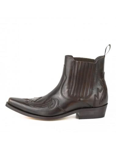 Santiags courtes cuir marron vintage - Bottines cowboy artisanales