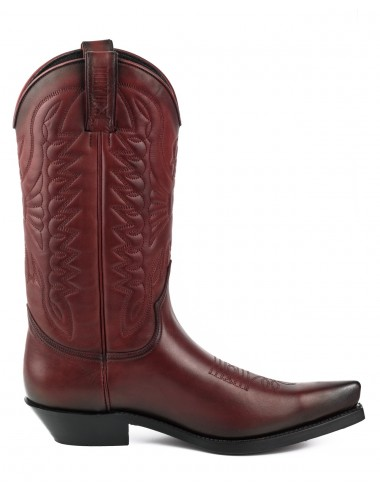Santiags cuir rouge vintage - Bottes santiags country artisanales