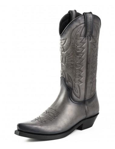 Santiags cuir noir classiques tendances - Bottes santiags country