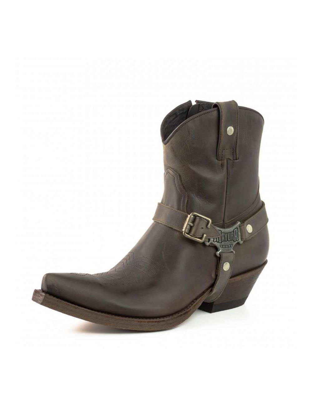 Bottines cowboy cuir marron