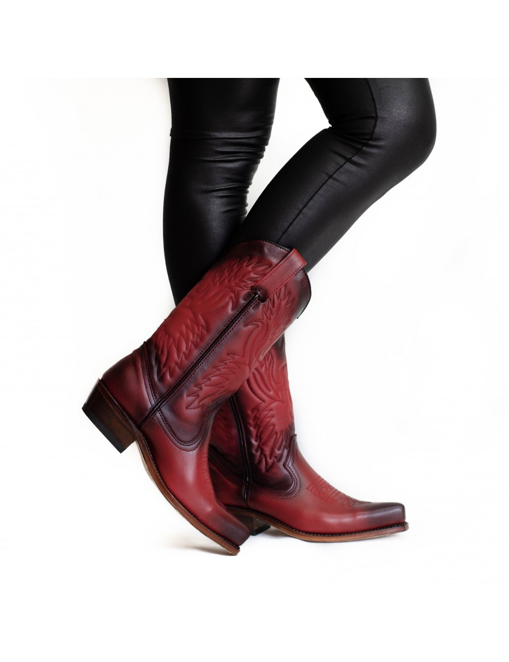 Santiags femme rouge vintage - Bottes santiags country artisanales