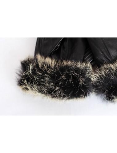 Gants cuir et fourrure femme - Chapeaux western artisanal