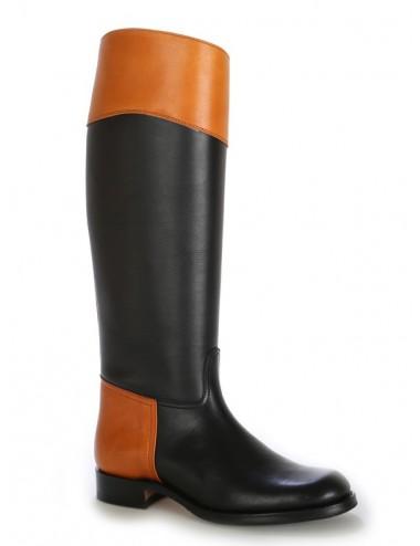Bottes cavalières - Bottes cavalières noires cuir bicolore