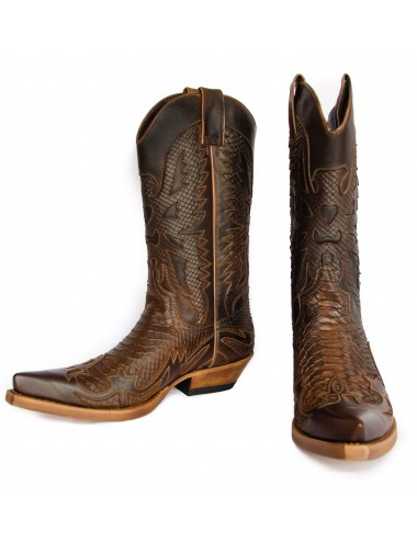 Santiags mexicaines cuir et serpent marron - Bottes santiags country