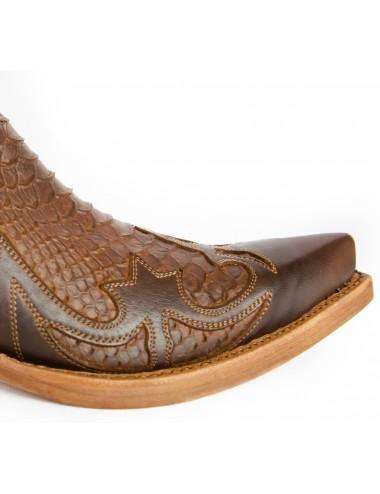 Santiags mexicaines cuir et serpent marron - Bottes santiags country