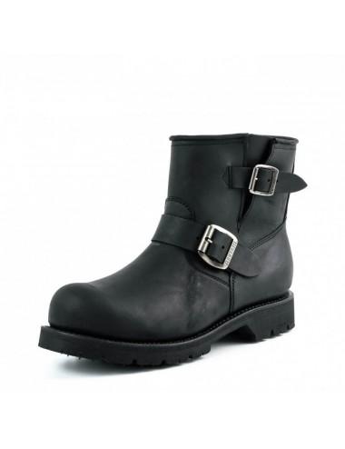Boots moto cuir noir bout coqué sur mesure - Bottes moto sur mesure