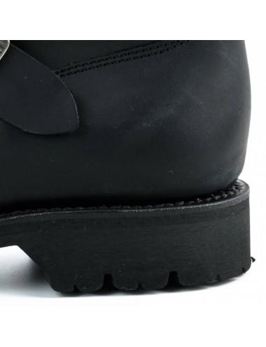 Boots moto cuir noir bout coqué sur mesure