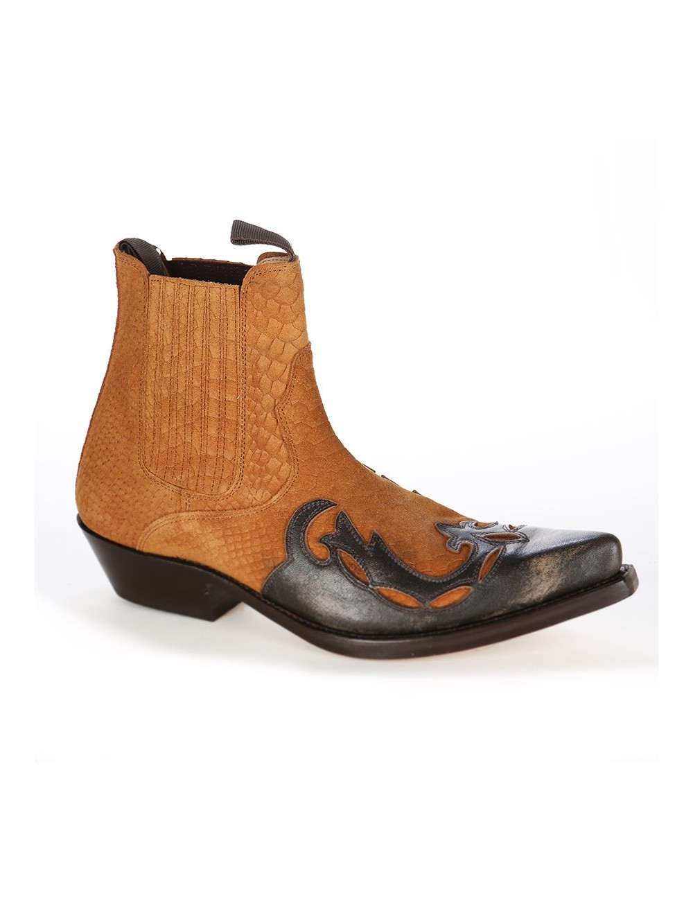 Boots santiags homme cuir camel - Bottines cowboy artisanales