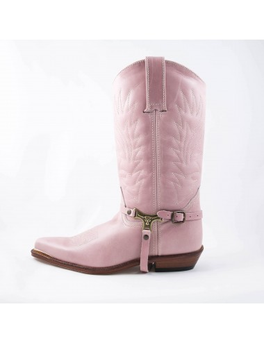 Santiags femme cuir rose - Bottes santiags country artisanales