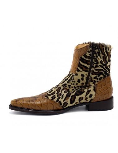 Bottines homme léopard cuir