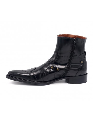 Bottines homme pointues cuir glacé - Bottines homme artisanales