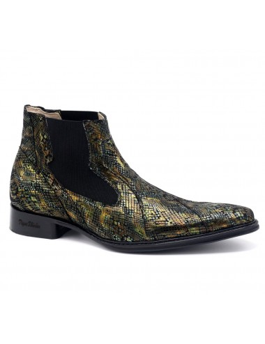 Bottines homme cuir serpent moiré - Bottines homme artisanales