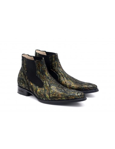 Bottines homme cuir serpent moiré