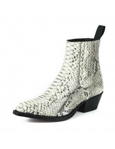 Bottines cowboy femme serpent blanc - Bottines cowboy artisanales