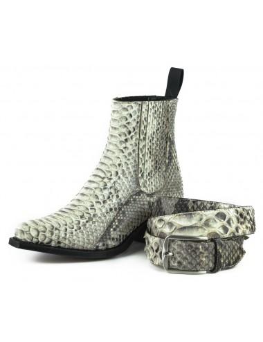 Bottines cowboy femme serpent blanc - Bottines cowboy artisanales