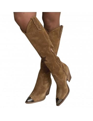 Bottes cowboy hautes daim Camel - Bottes santiags country artisanales