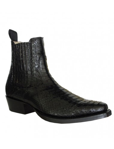 Bottines santiags serpent véritable noir - Bottines homme artisanales