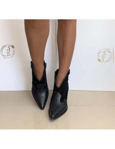 Low boots cowboy cuir femme