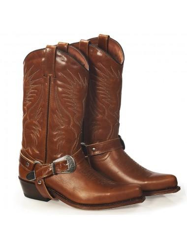 Bottes santiags harnais western en cuir camel