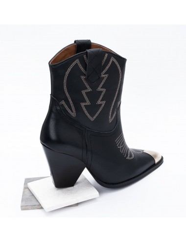 Bottines cowboy cuir noir à talon