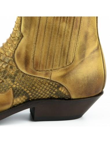 Boots cowboy homme cuir et serpent camel