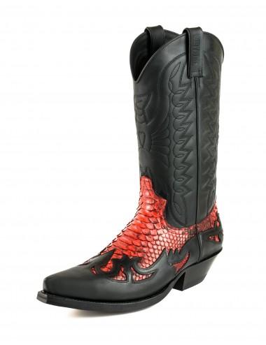 Santiags cuir et serpent noir et rouge - Bottes santiags country