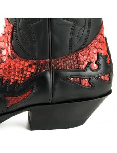 Santiags cuir et serpent noir et rouge