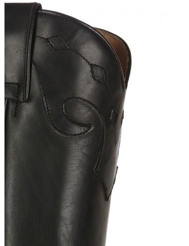 Bottes santiags hautes cuir noir - Bottes santiag et country artisanales