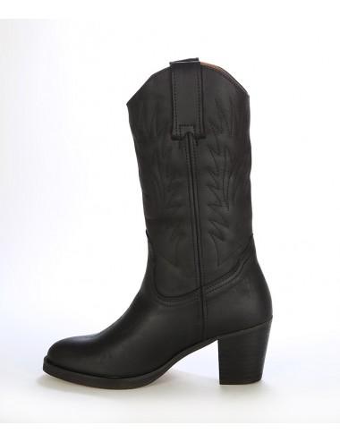 Bottes country cuir noir femme - Bottes santiag et country artisanales