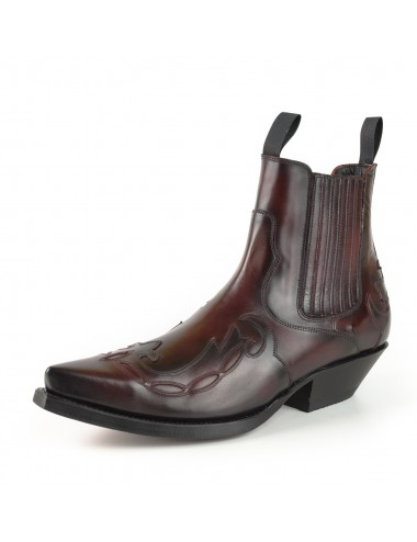 Boots cowboy cuir bordeaux vintage - Bottines cowboy artisanales
