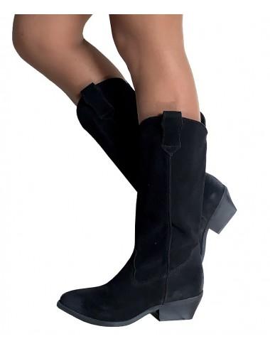 Bottes cowboy daim noir femme - Bottes santiags country artisanales