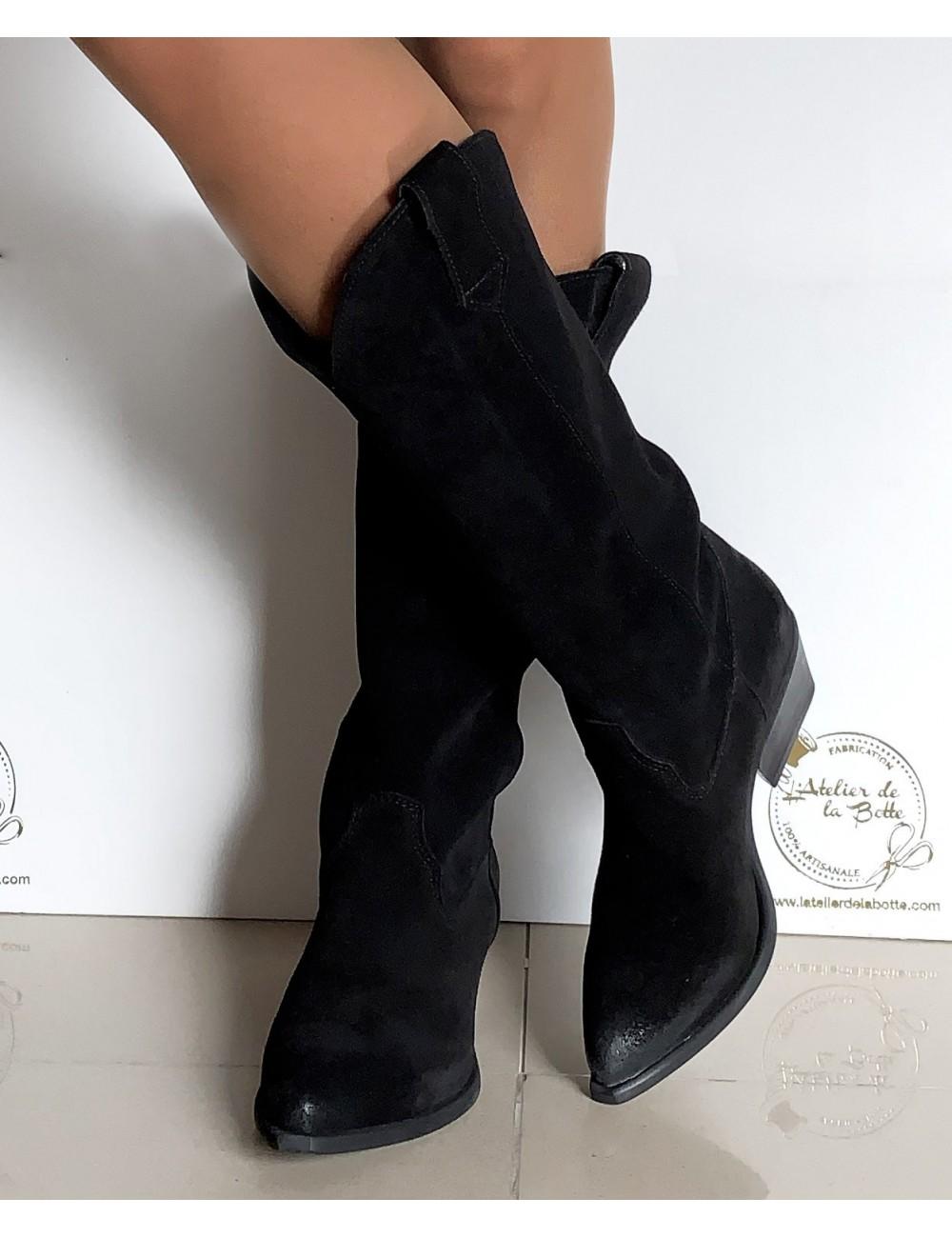 Bottes cowboy daim noir femme - Bottes santiag et country artisanales