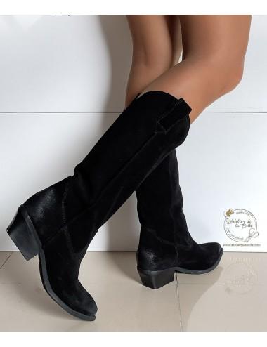 Bottes cowboy daim noir femme