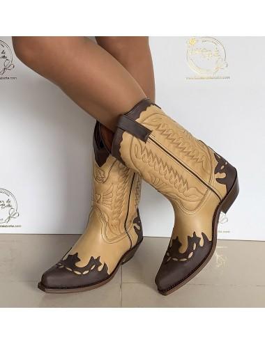 Santiags cuir camel et marron - Bottes santiags country artisanales