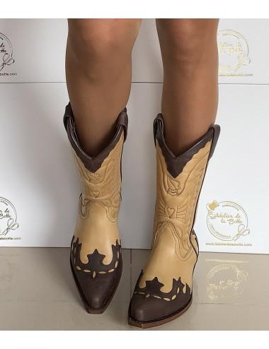 Santiags cuir camel et marron - Bottes santiag et country artisanales