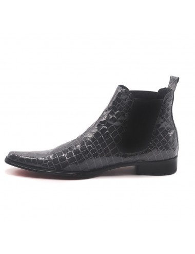 Bottines homme cuir croco gris - Bottines homme artisanales