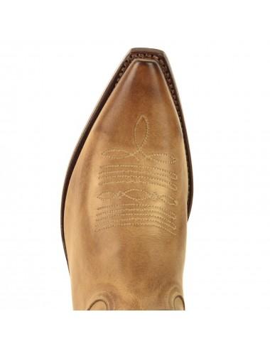 Santiags beige vintage en cuir - Bottes santiags country artisanales